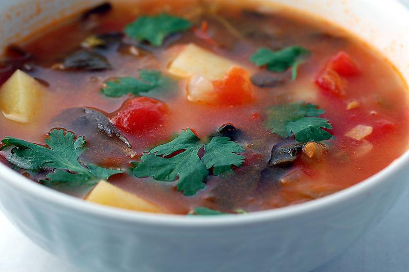 Purslane, Tomato, and Tomatillo Soup